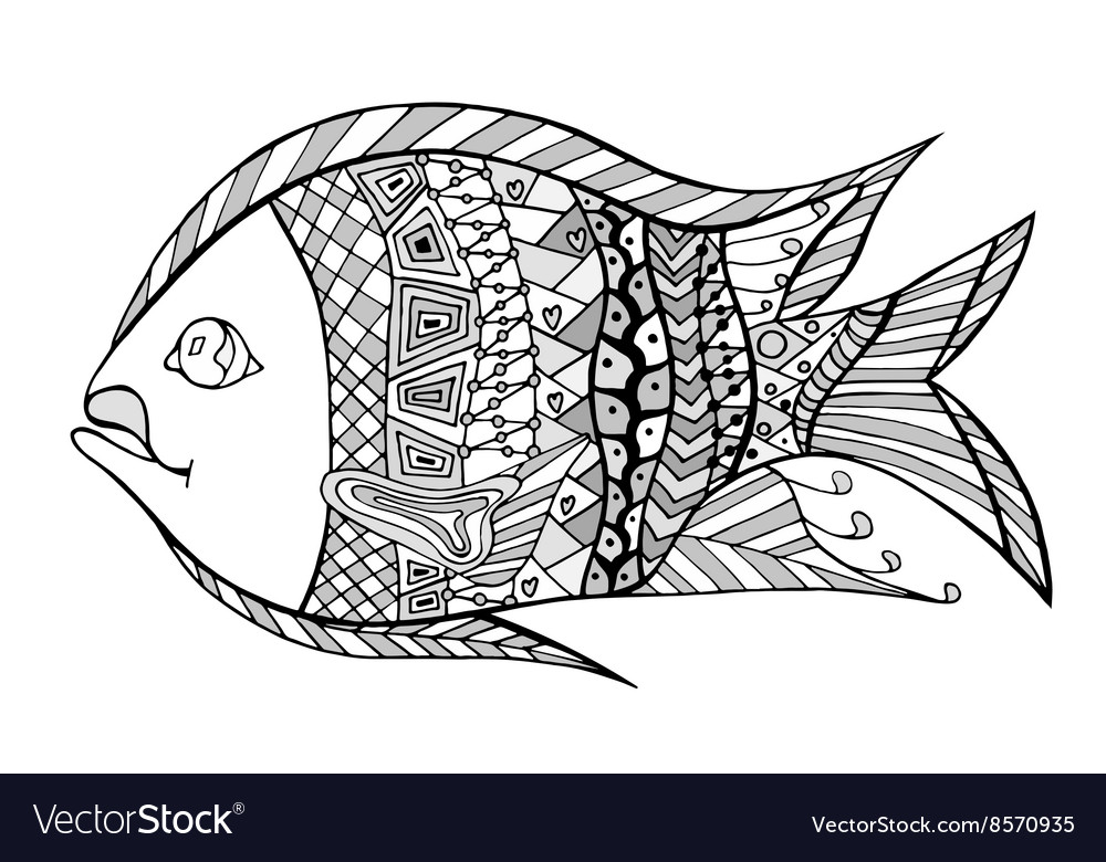 Tangle Patterns Stylized Fish Royalty Free Vector Image New Tangle Patterns