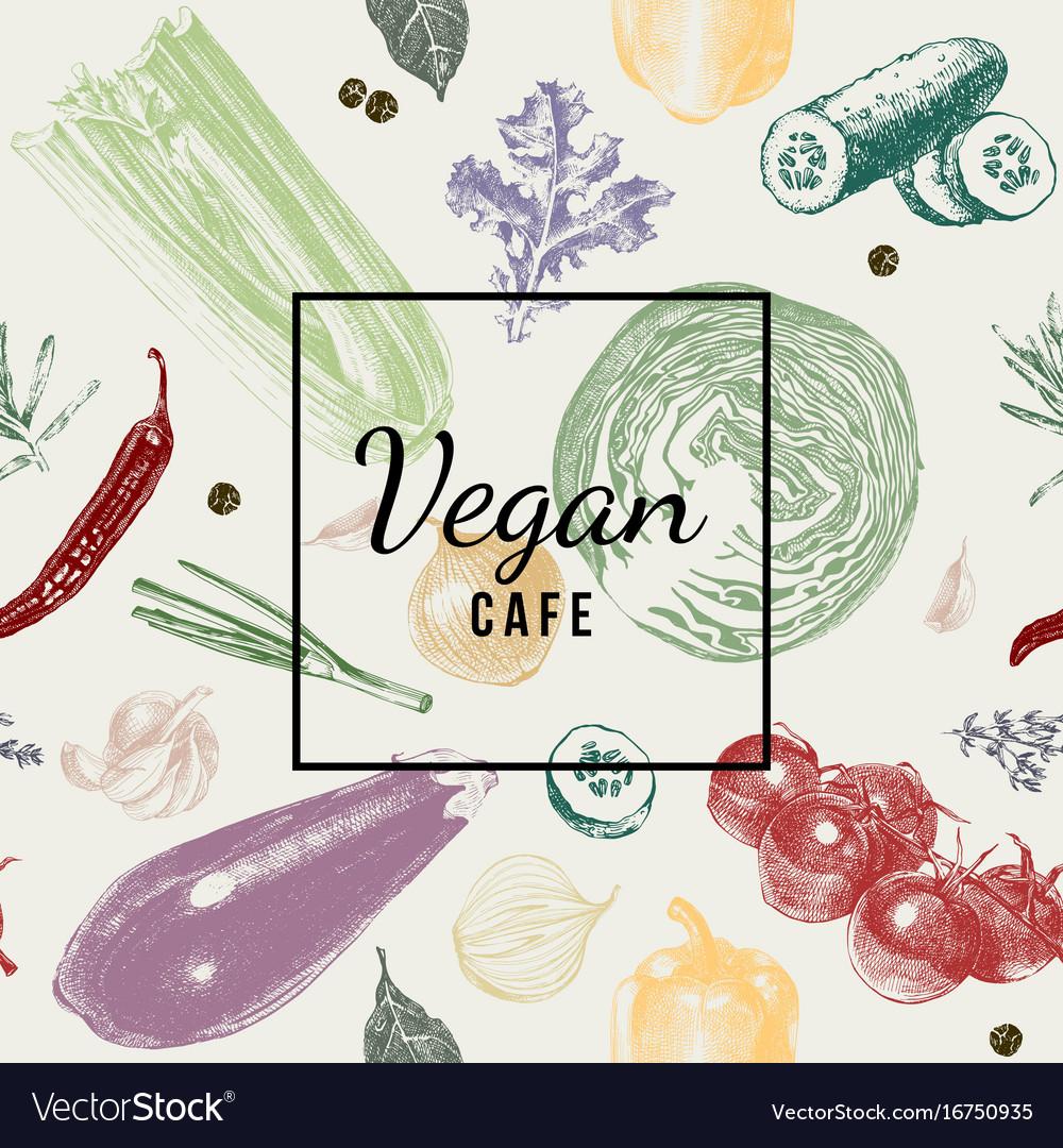 Vegan cafe logo over vegetable background