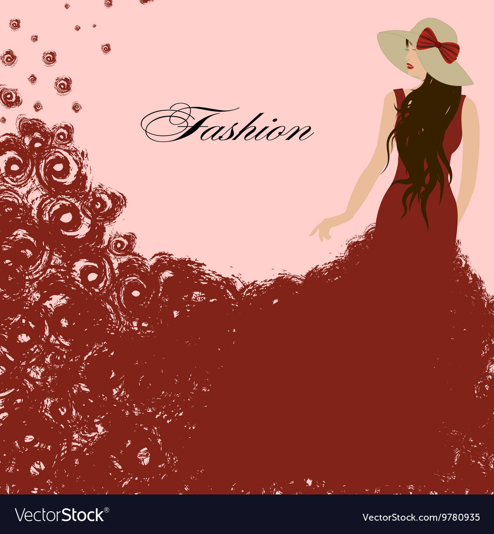 Woman in a red dress Red roses Beautiful