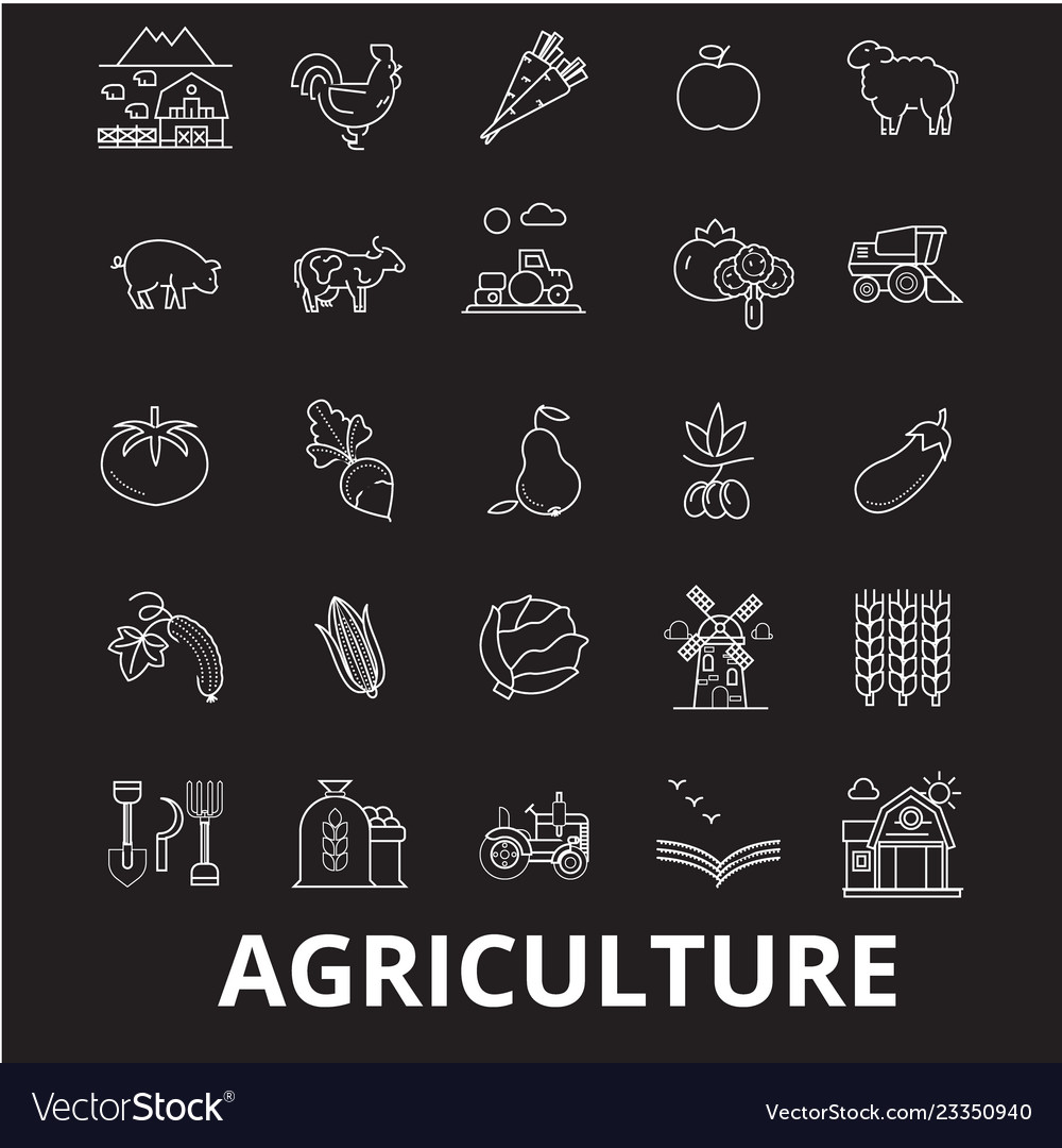 Agriculture editable line icons set on