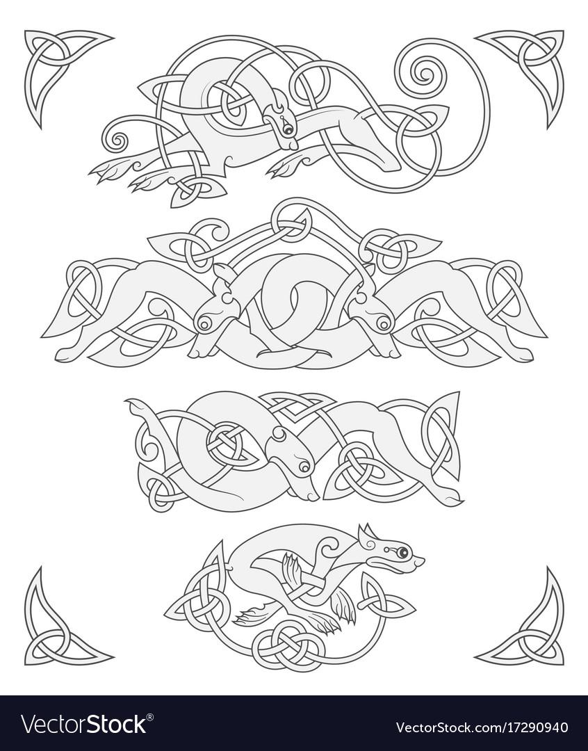 Ancient celtic mythological symbol of wolf