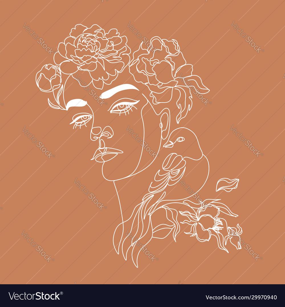 Art line flower head minimalist woman print