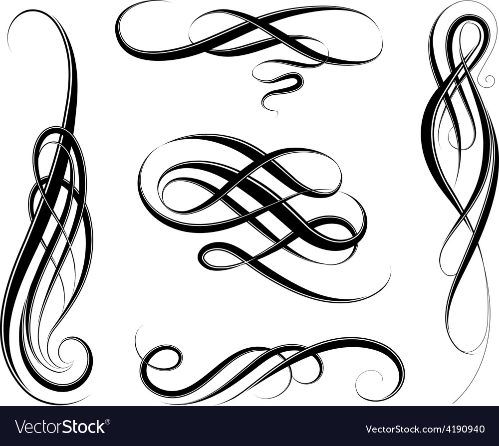 calligraphic swirls royalty free vector image vectorstock rh vectorstock com swirls vector art free swirls vector art free