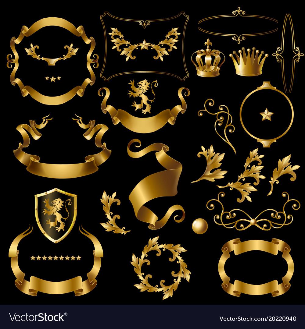 Creation set with vintage golden elements