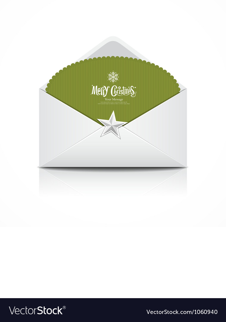 Envelope and green card merry Christmas isolated