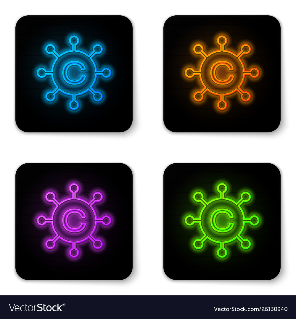 Glowing neon copywriting network icon isolated on