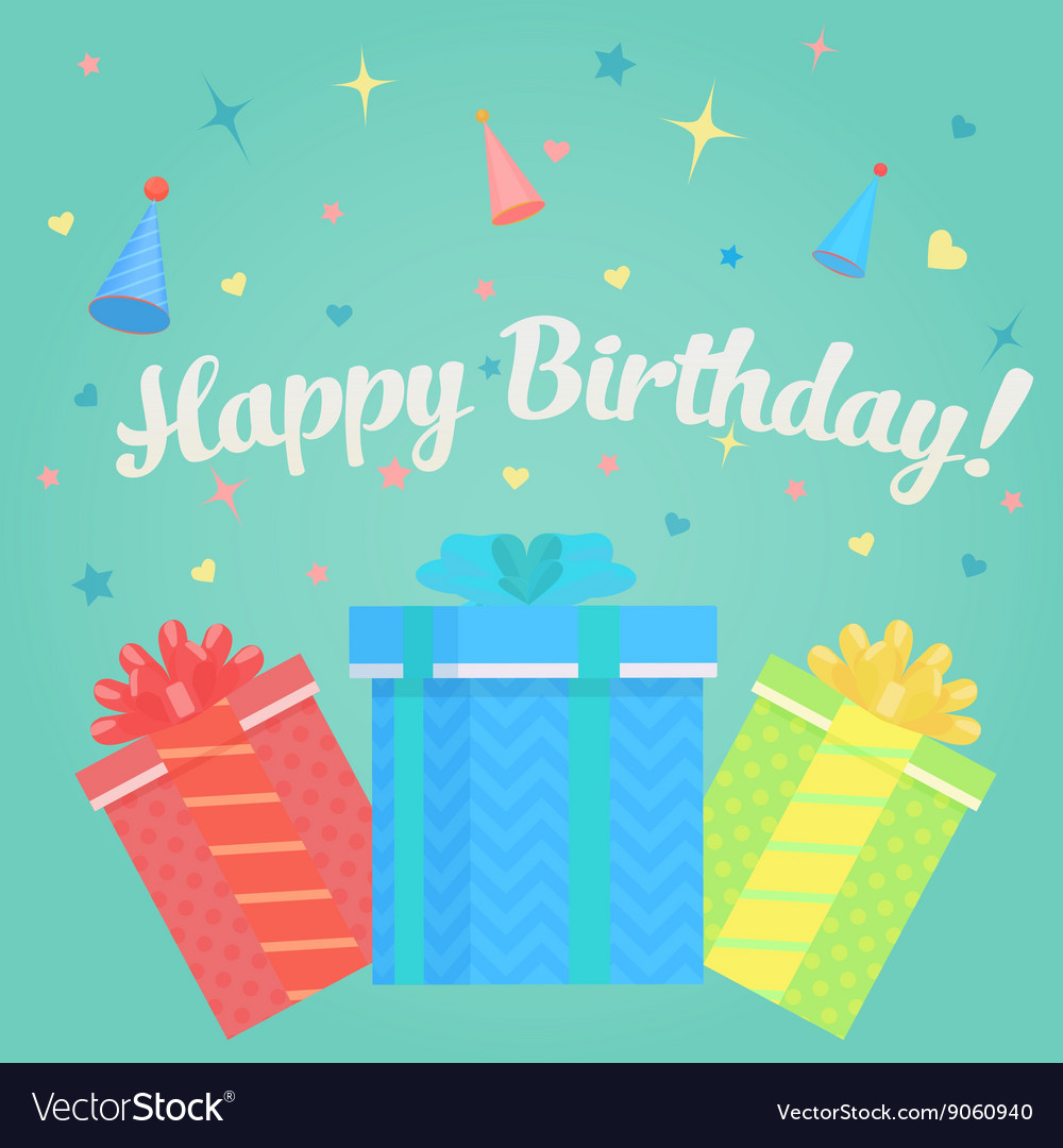 Happy birthday greeting card with gifts and