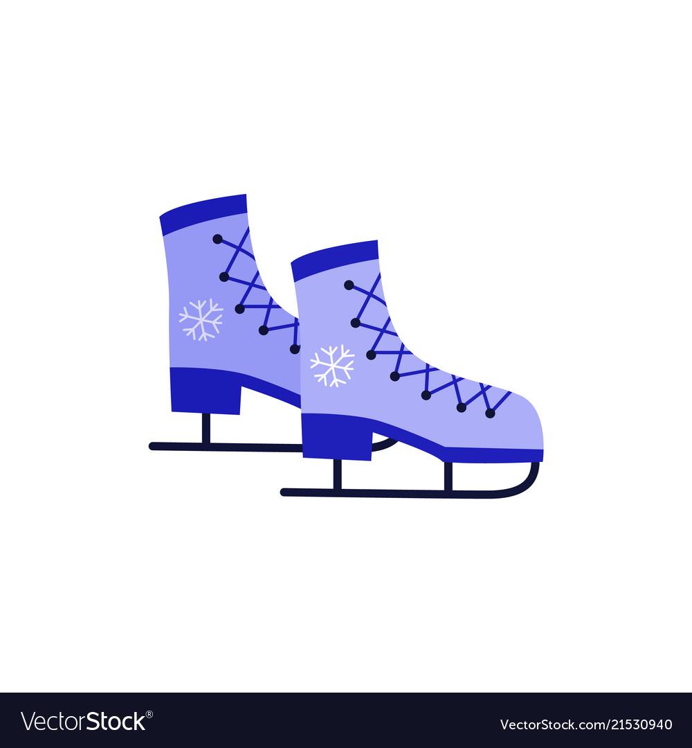 Ice-skates with snowflake print blue icon