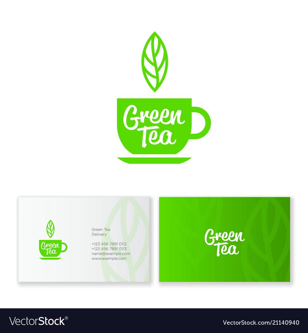Logo green tea leaf business card identity vector image colourmoves