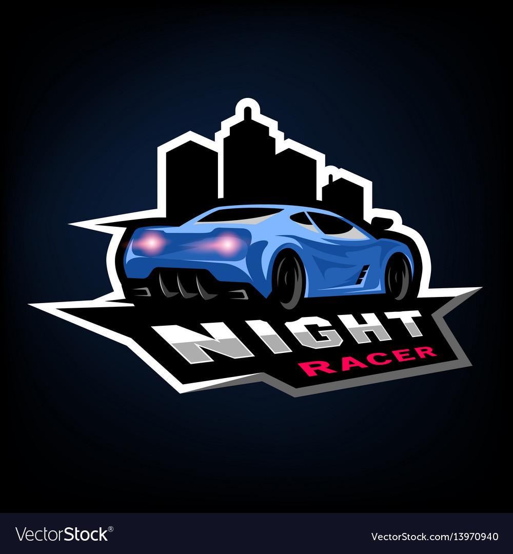 Night street racer emblem logo