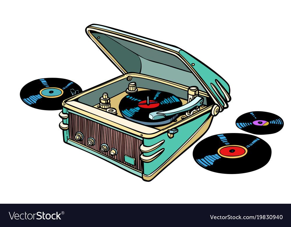 Retro vinyl player isolated on white background vector image
