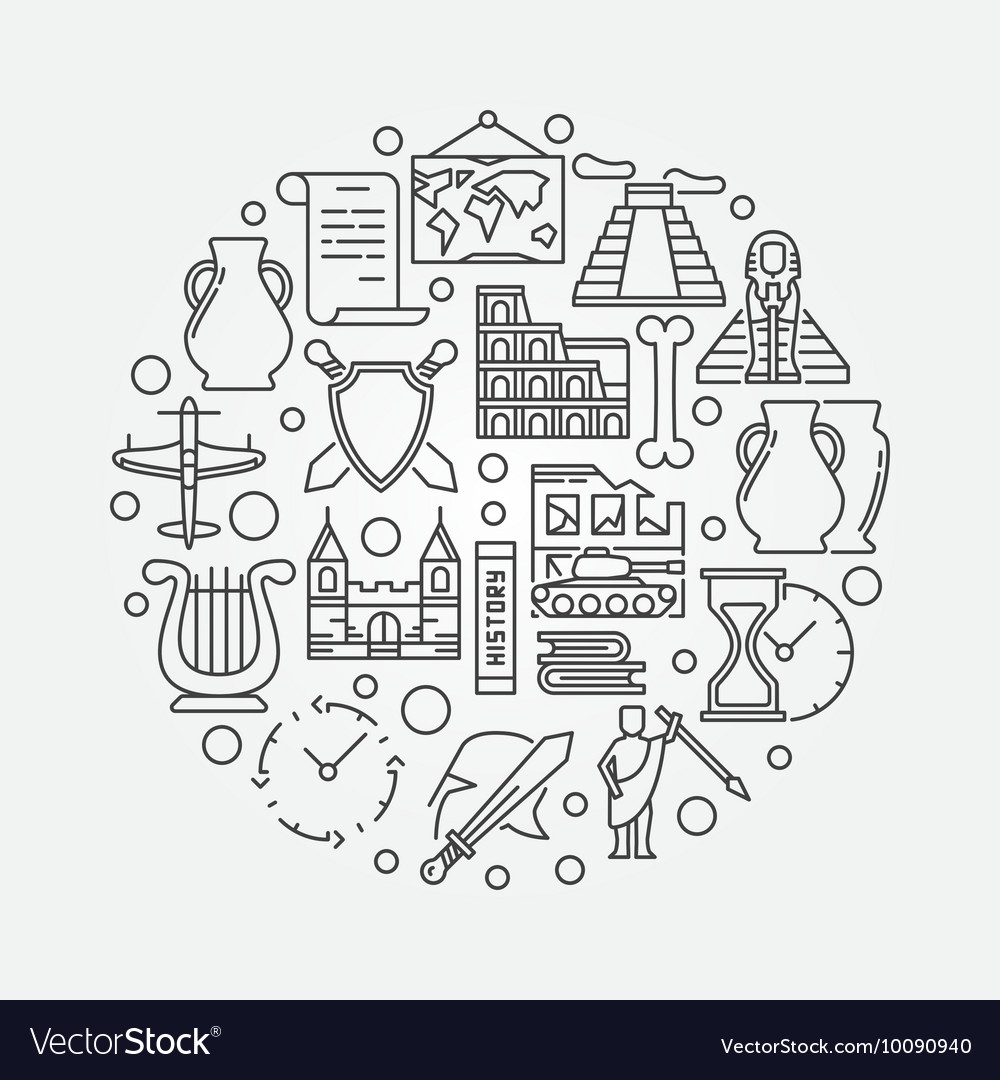 Round history sign vector image