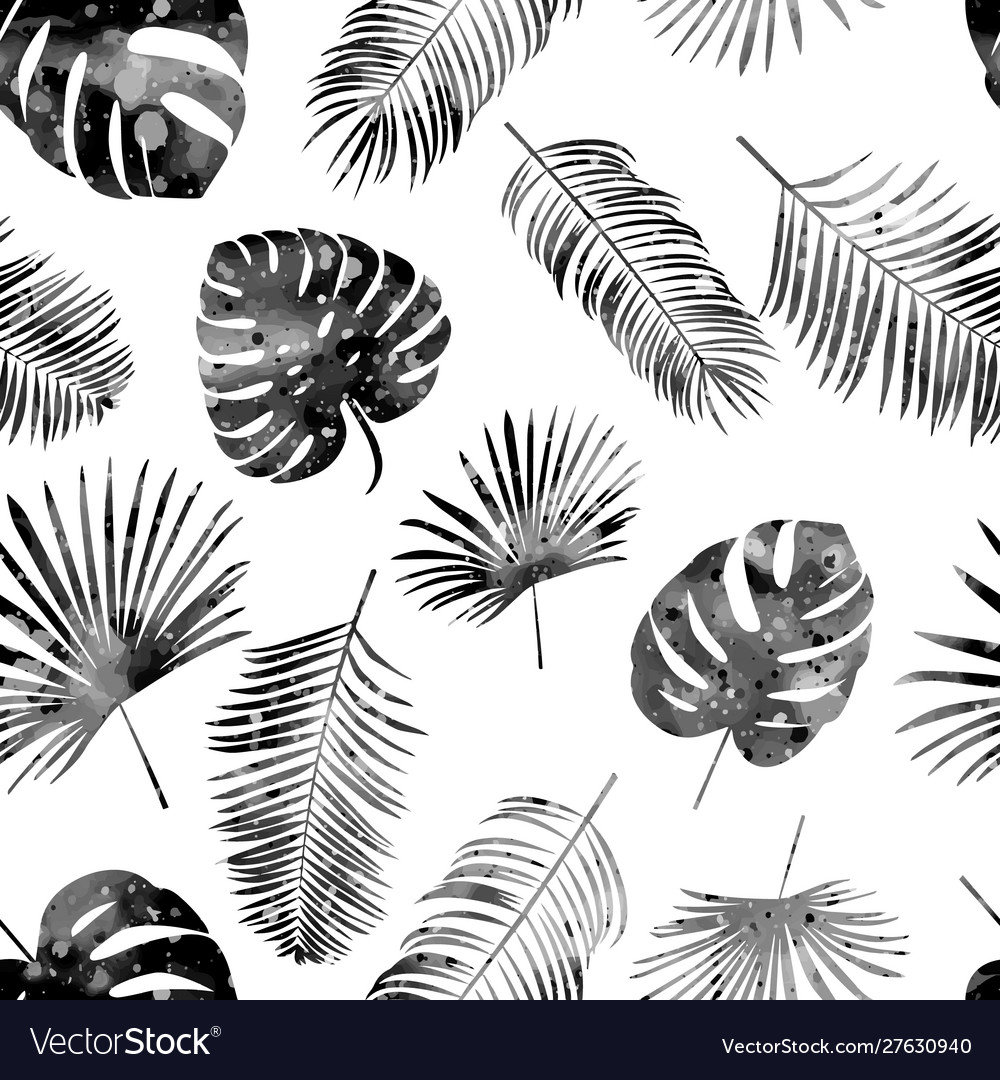 Seamless hand drawn pattern with black palm leaves