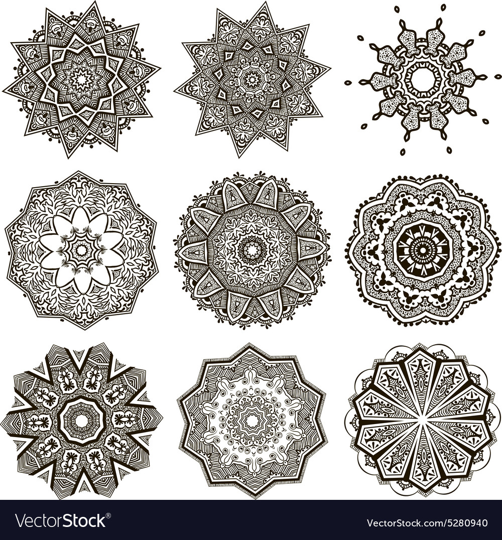Set of black and white mandalas