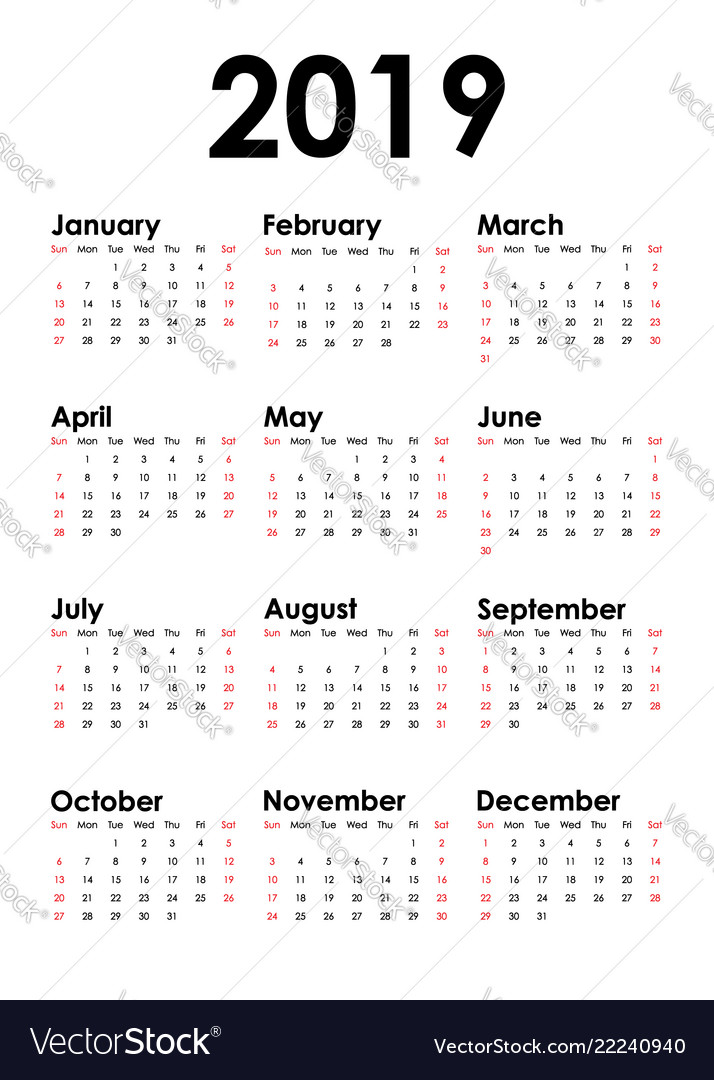 Vertical calendar for 2019 year isolated white