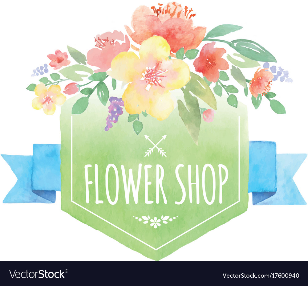 Watercolor floral label with banner