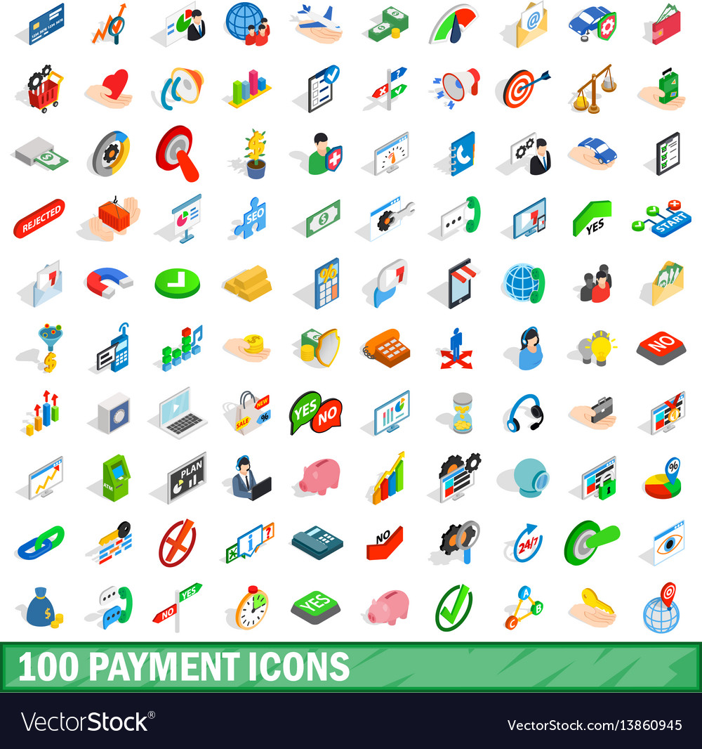 100 payment icons set isometric 3d style