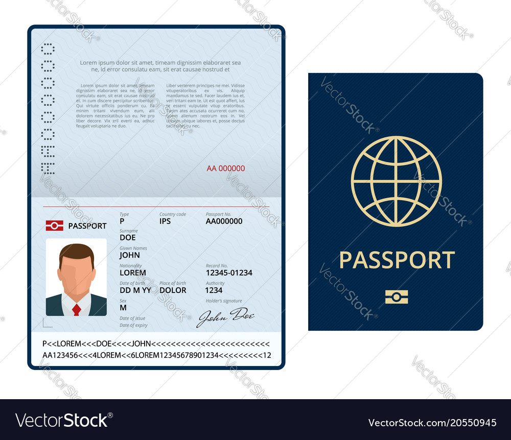 Blank open passport template international