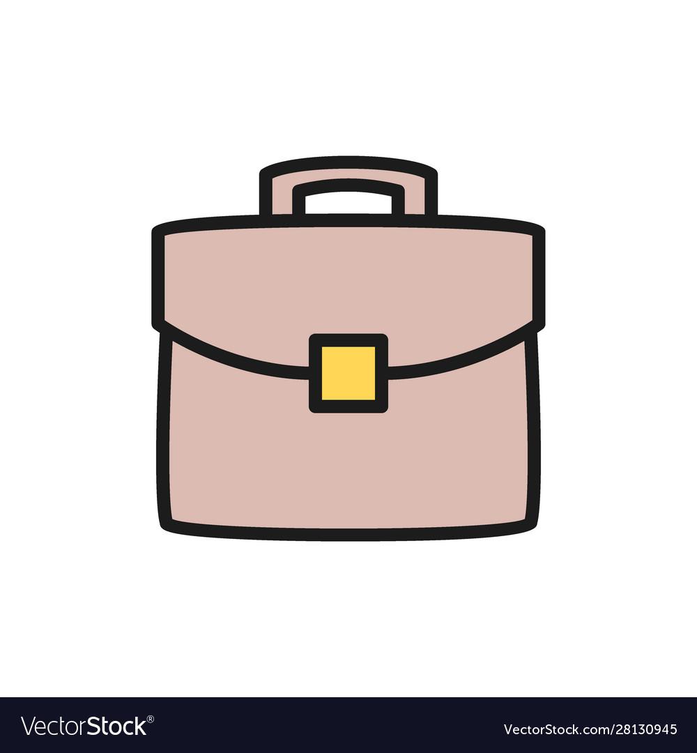 Briefcase portfolio bag flat color icon