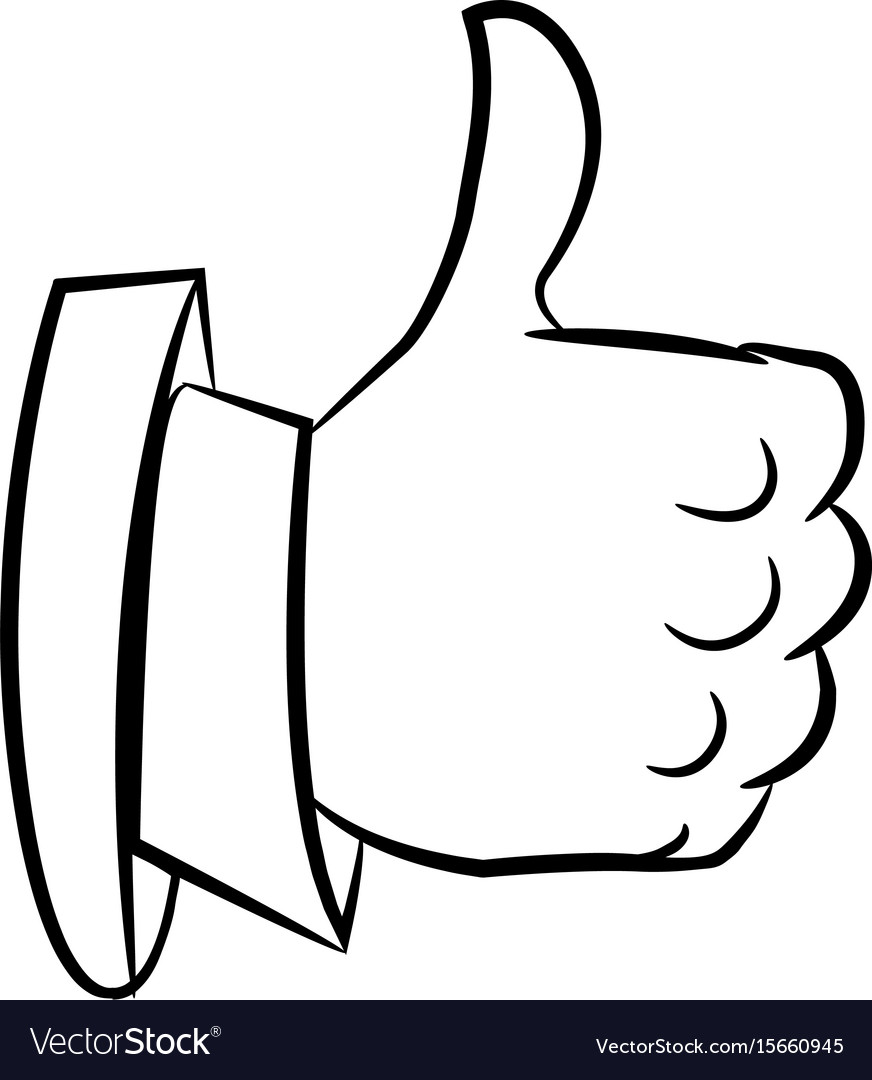 cartoon image of thumb up icon good symbol vector image vectorstock