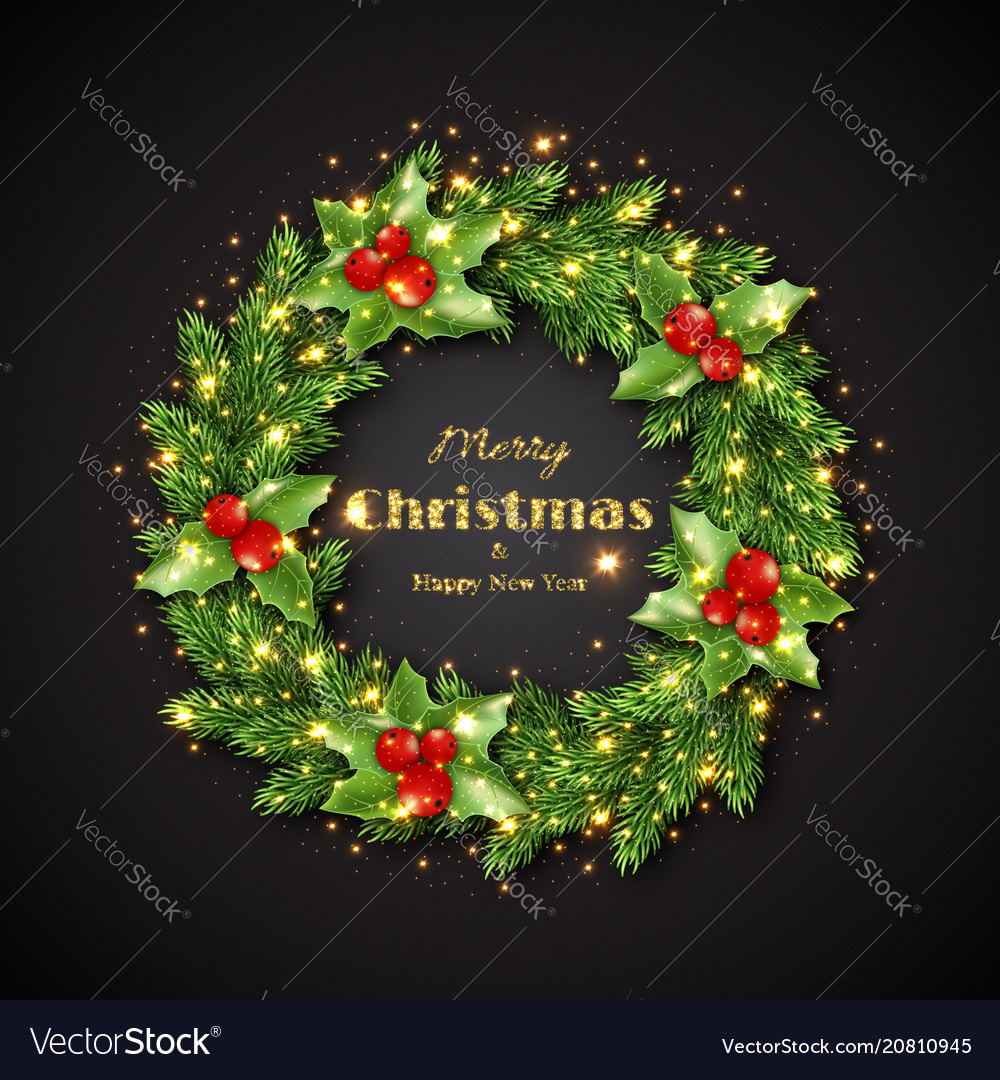 Christmas wreath with holly glowing lights vector image