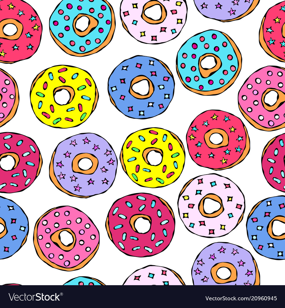 Glazed donuts seamless background fast street