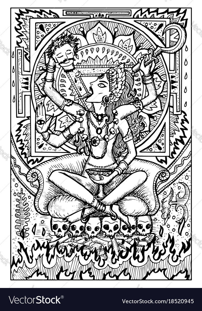 Goddess kali engraved fantasy vector image