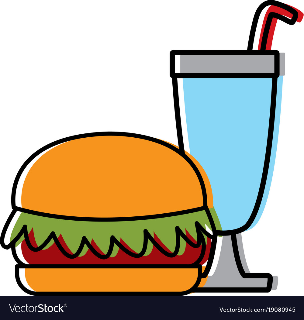 Hamburger with milkshake