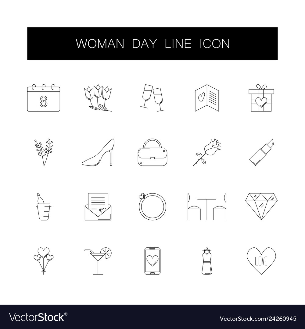 Line icons set 8 march woman day pack