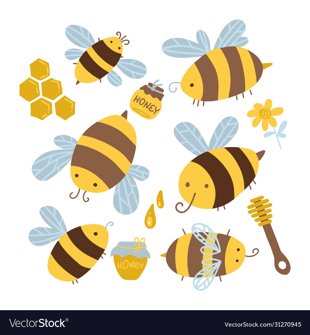 Many characters cute yellow and black bees set