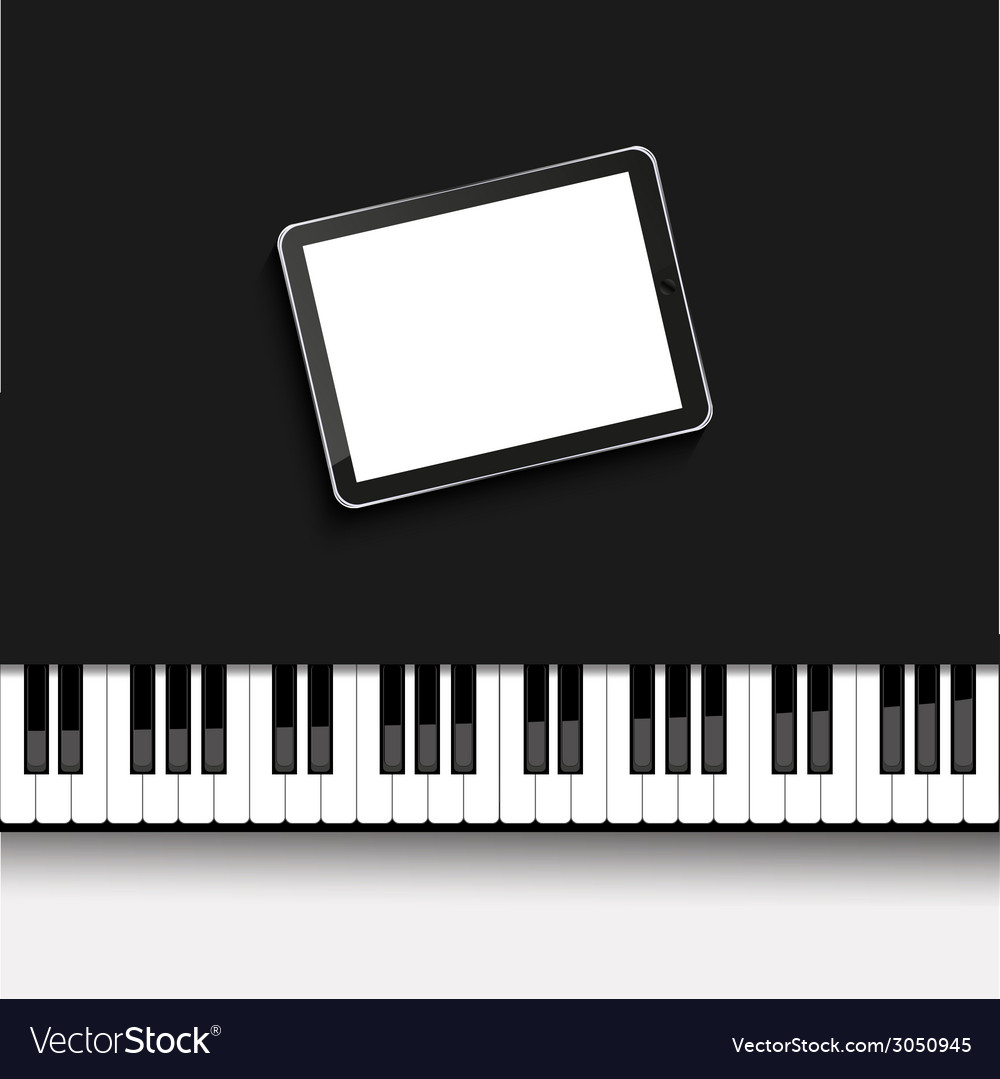 Modern computer tablet on piano