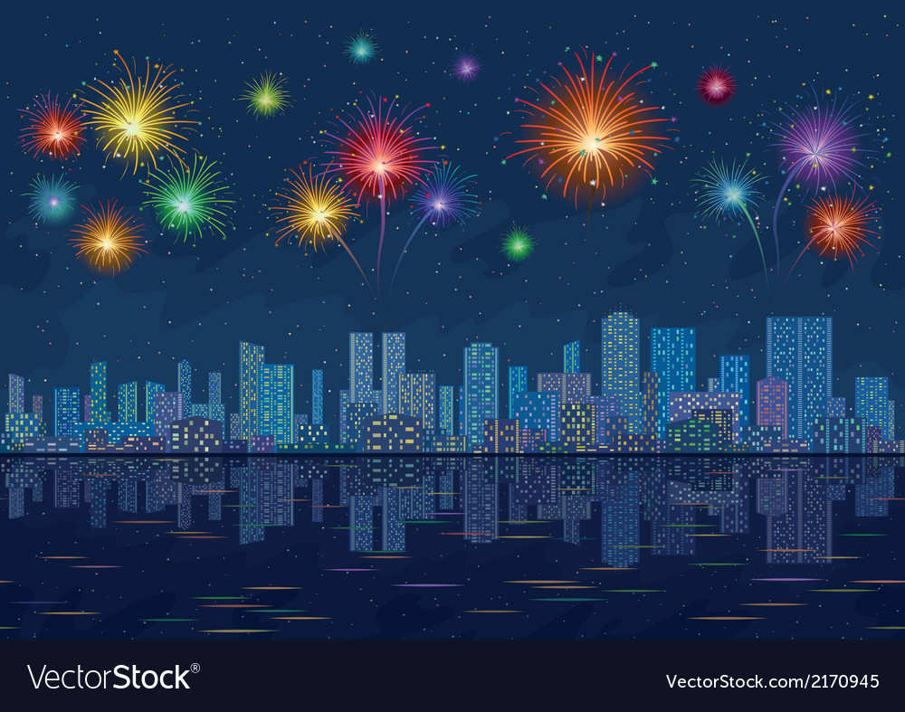 Night city landscape with fireworks seamless