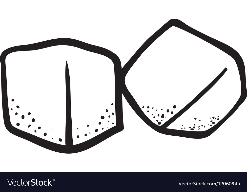 Outline ice cube cold frozen vector image