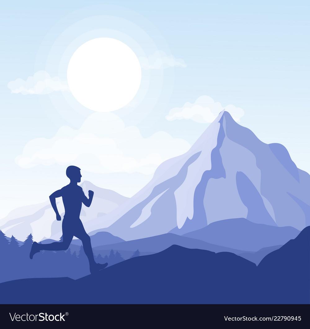 Running man in wild nature
