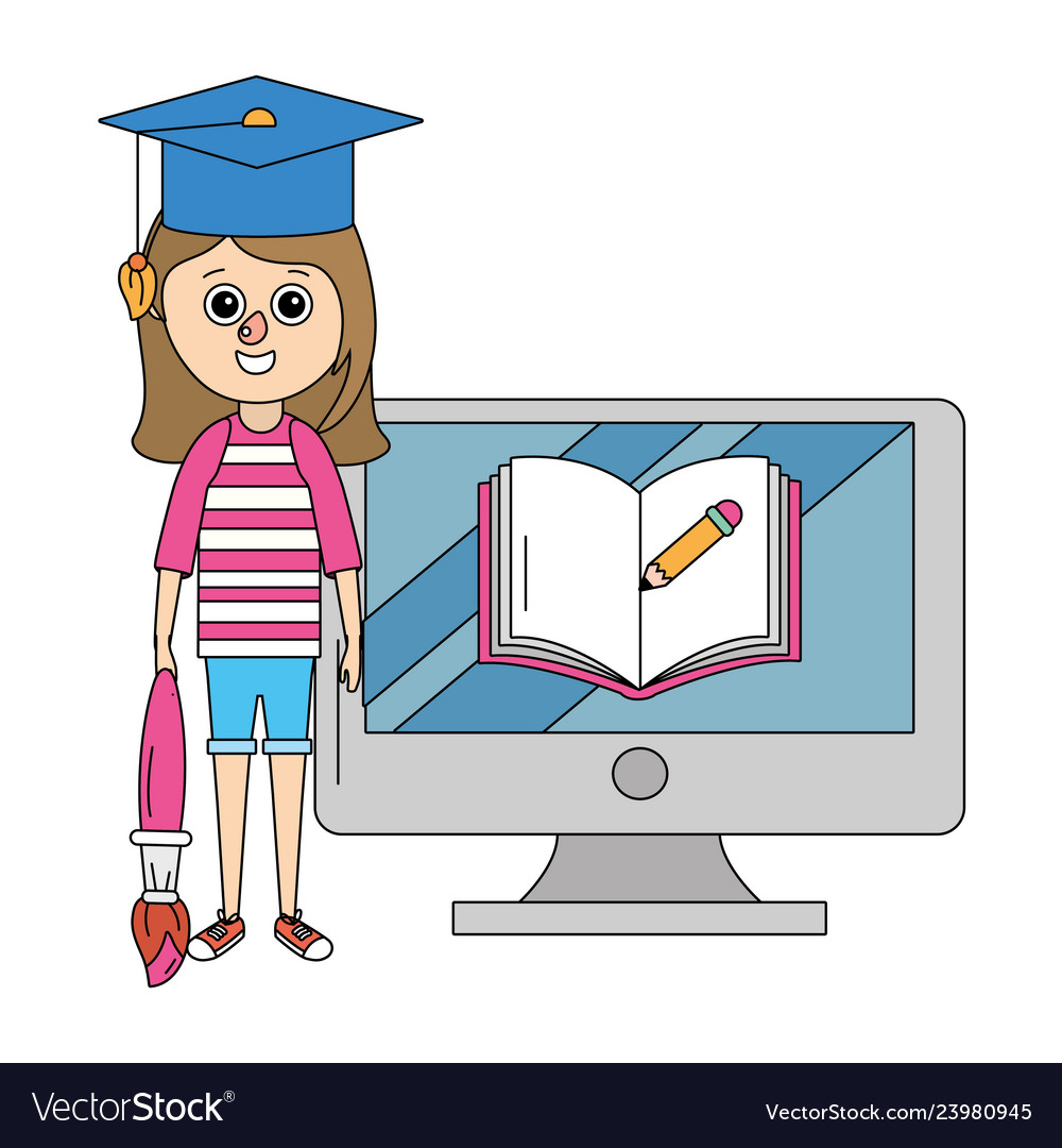 School Education Girl Cartoon Royalty Free Vector Image