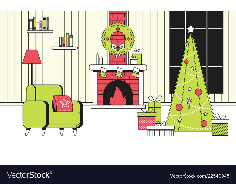 Soft color new year christmas flat cartoon