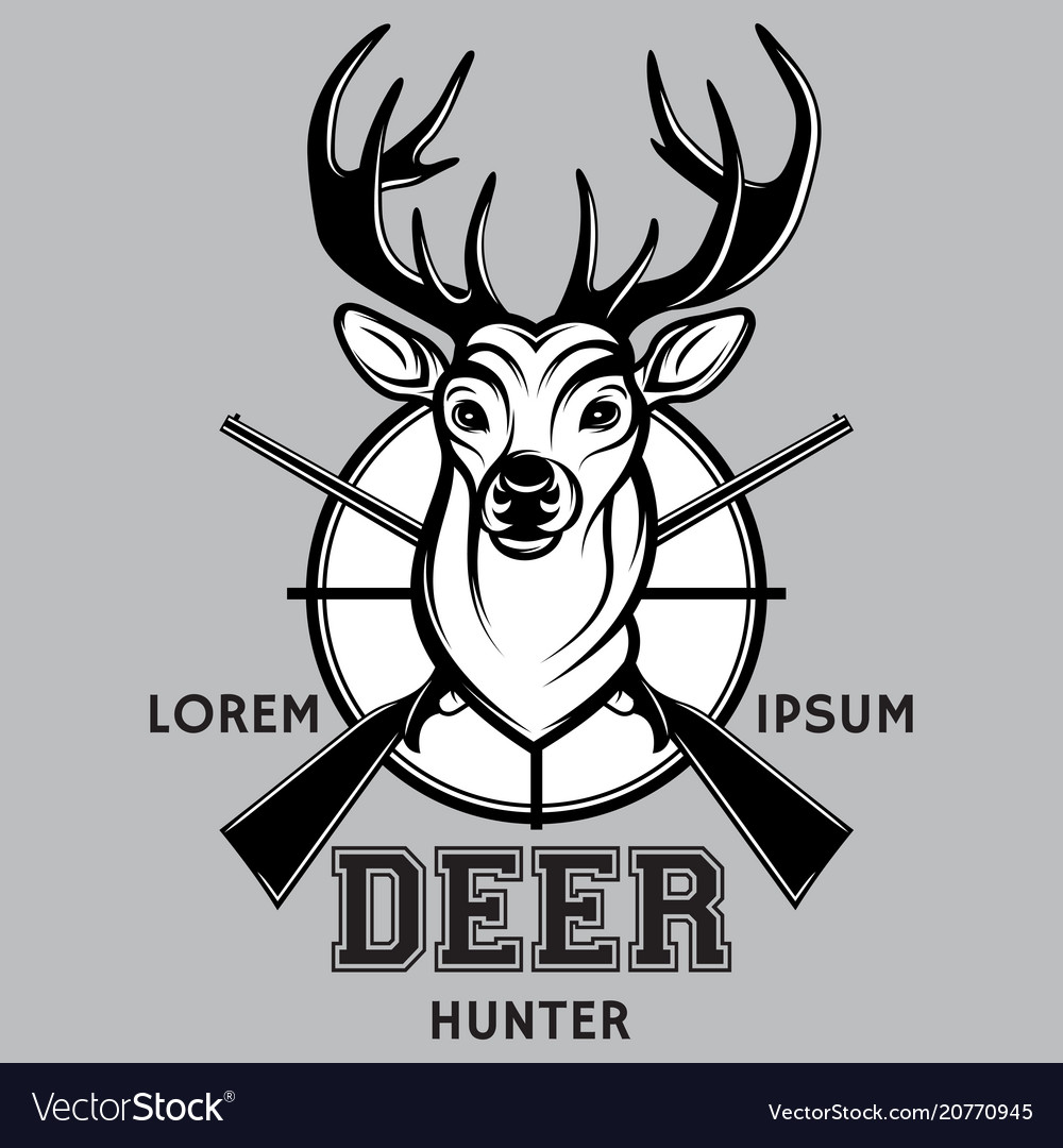 Sports monochrome badge on hunting with deer