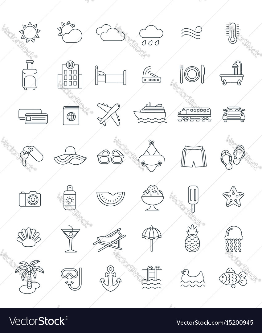 Summer vacation travel thin line icons