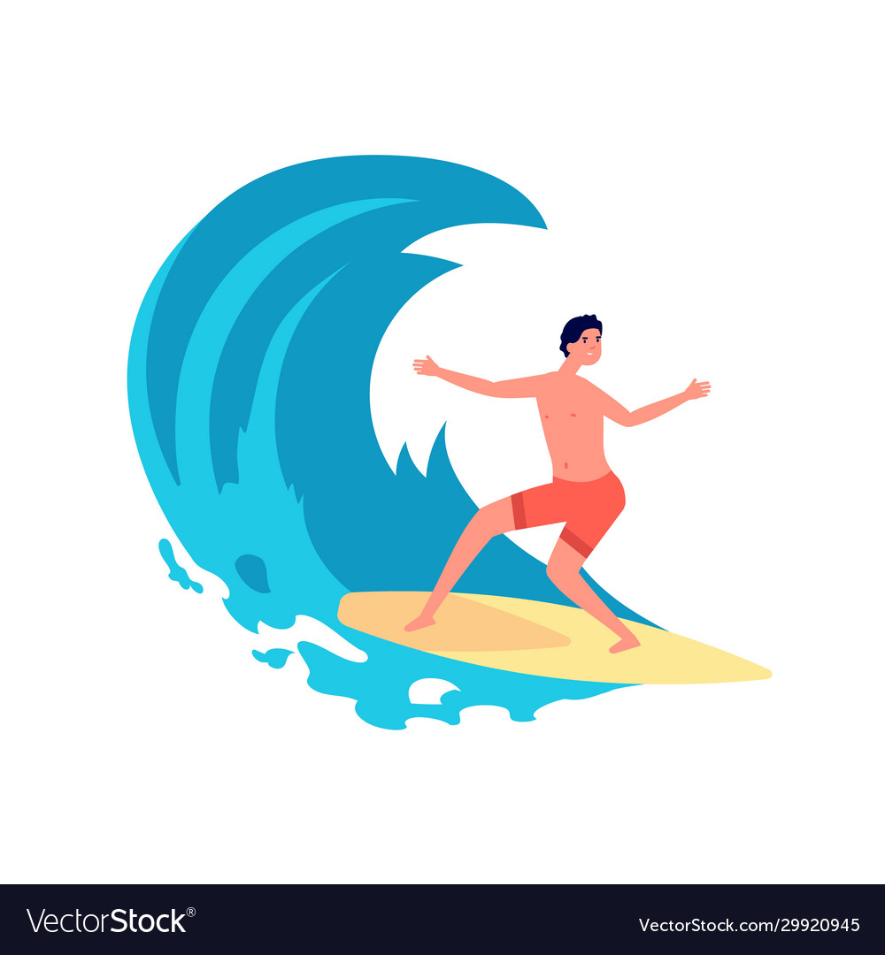 Surfer on wave flat young man on surfboard