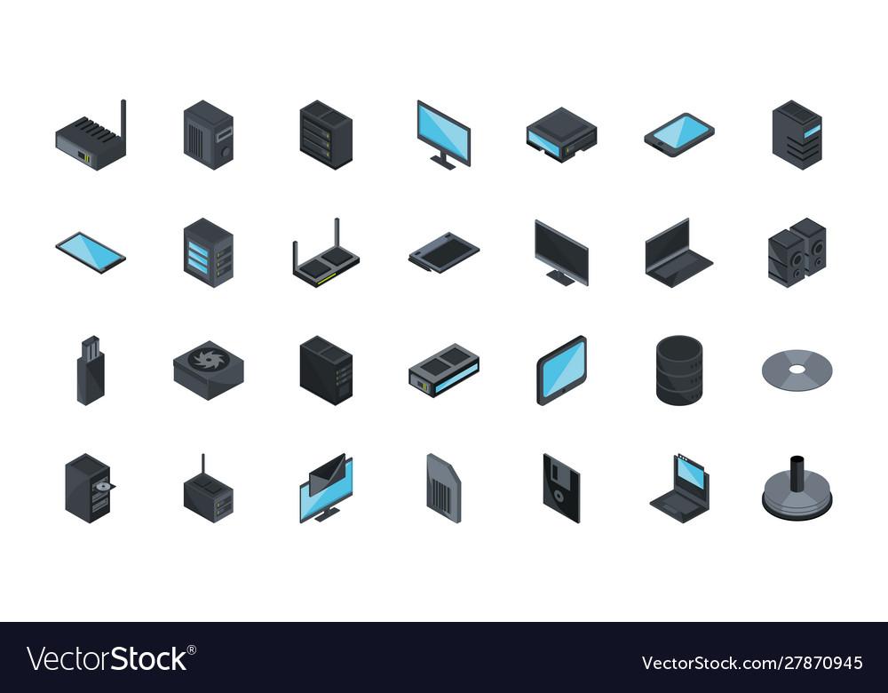 Technology hardware device computer icons set