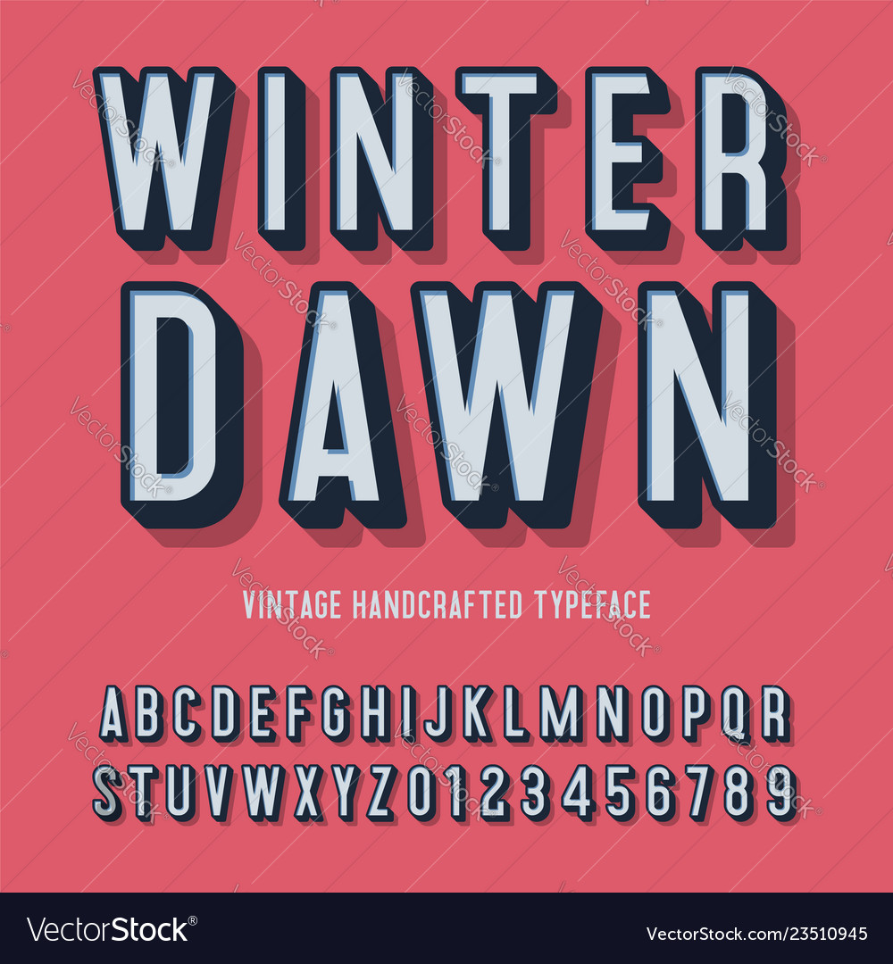 Winter dawn vintage handcrafted 3d alphabet
