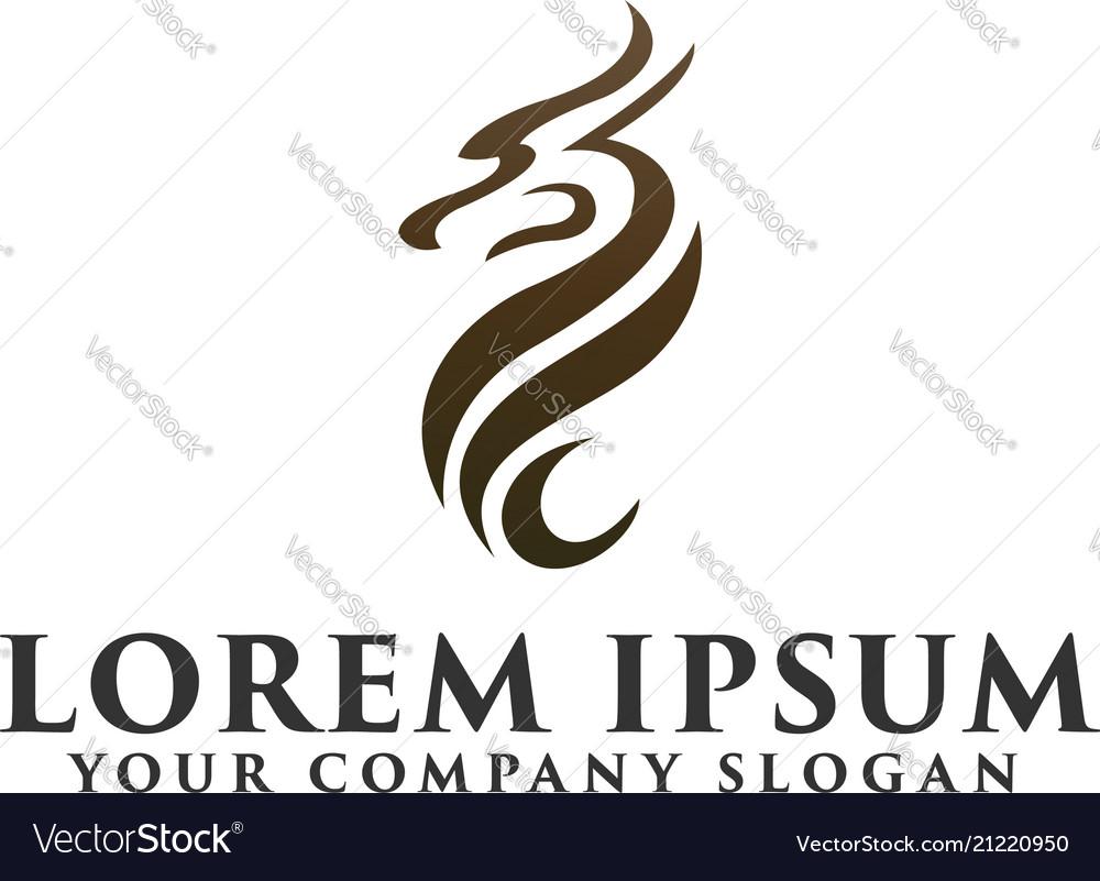 Abstract dragon logo design concept template