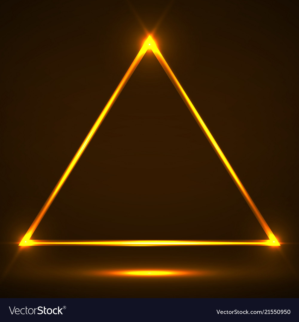 Abstract neon triangle with glowing lines