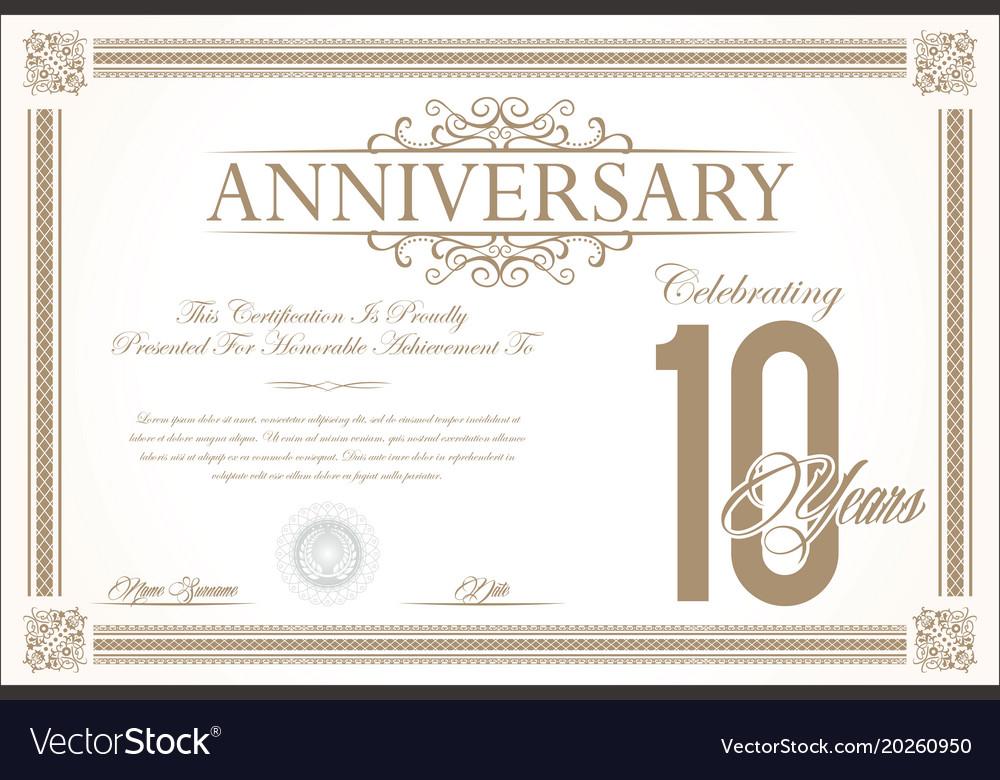 Anniversary retro vintage background 10 years