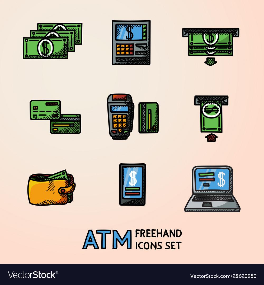 Atm doodle set sketch icons machine cards wallet