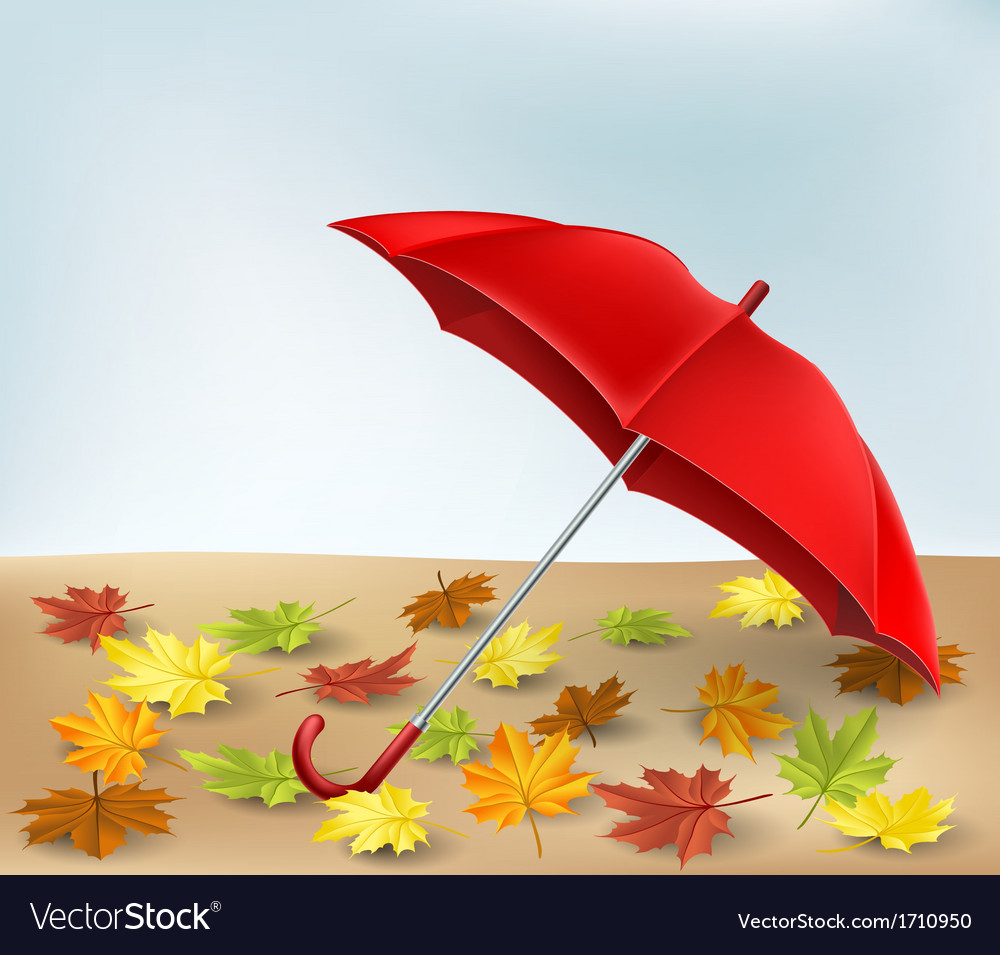 Autumn frame with umbrella and leaves