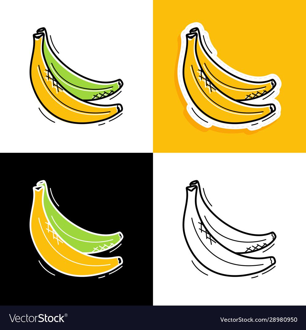 Banana set hand drawn doodle banana icon