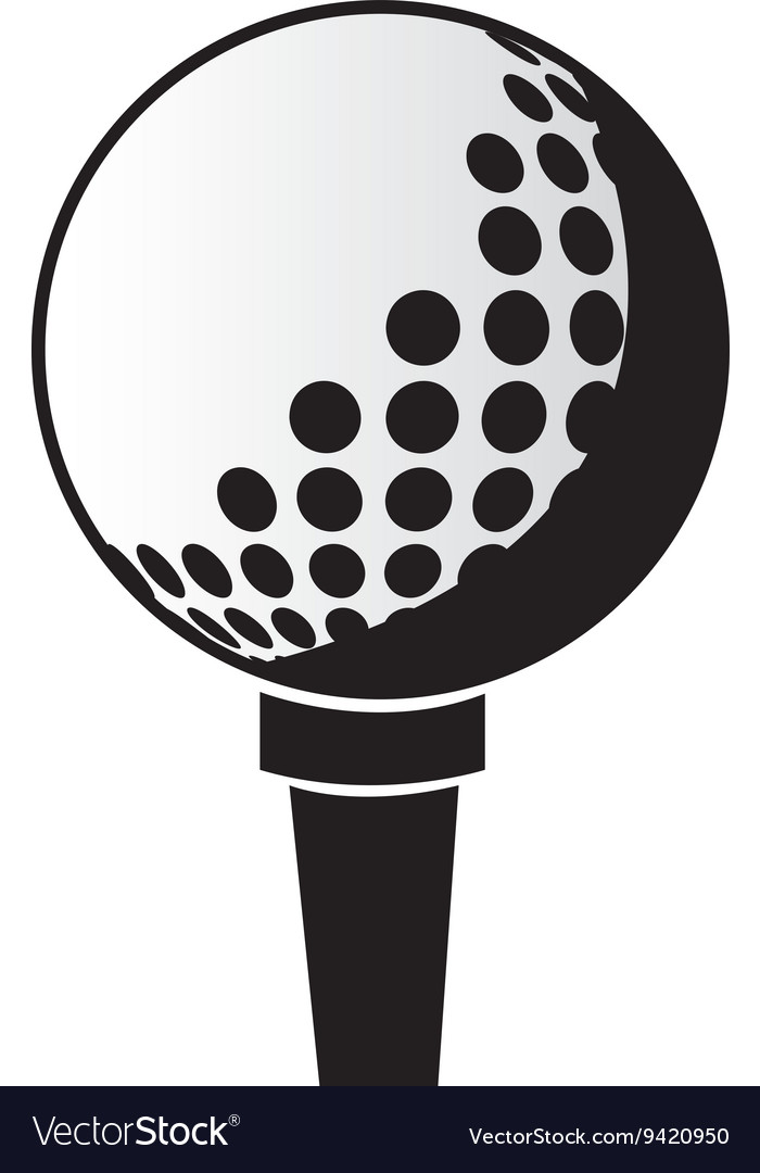 Black and white golf ball graphic vector image