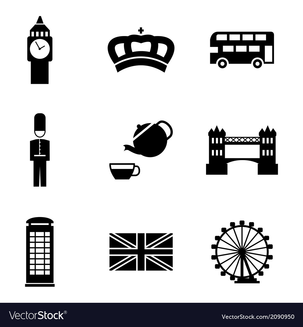 Black london icons set
