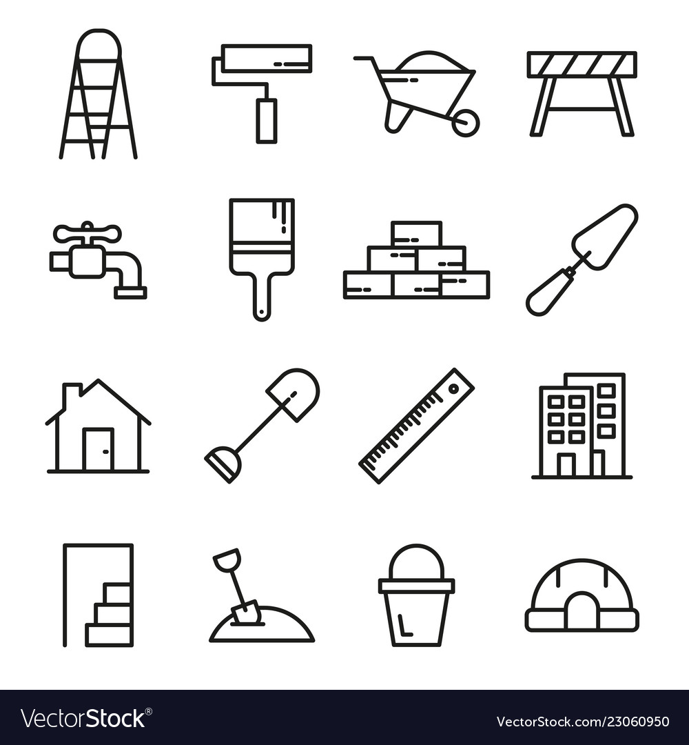 Construction tools line icons set